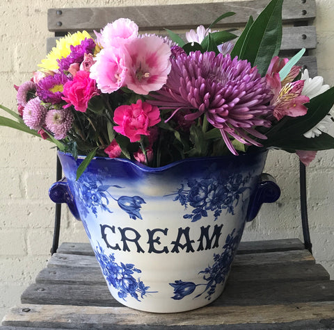 Blue & White Antique Dairy Supply English CREAM Pail Bucket w/ Roses
