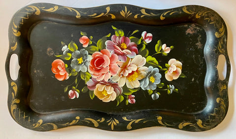 "25"" Oblong Vintage Black Handled Tole Tray Hand Painted Plethora of Flowers"