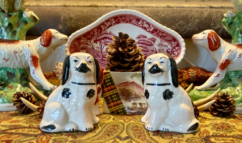 "Antique 4"" Black & White English Staffordshire King Cavalier Spaniel Dog Figurines"