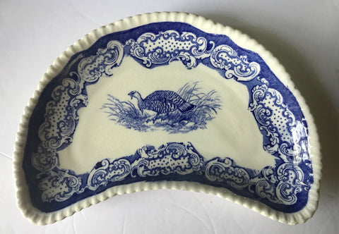 Rare Antique Staffordshire Wild Turkey Salad Plate Crescent Shaped Blue Transferware