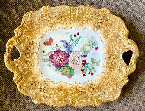 Antique Pratt Golden Yellow Transferware Footed Handled Compote Country French Botanical Floral Bouquet Peonies Cornflower Phlox