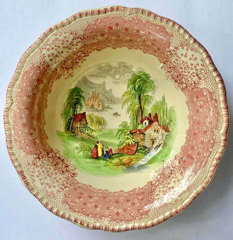 English  Country Cottage Serving Bowl Polychrome Red / Pink Transferware Royal Doulton Chatham