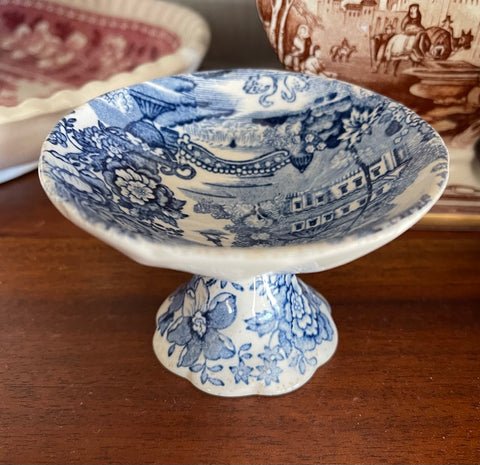 Blue Transferware Pedestal Master Salt Cellar Tonquin Royal Staffordshire