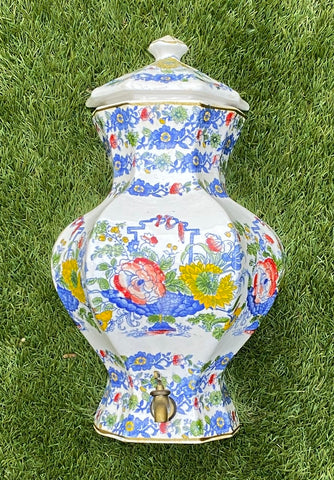 Vintage Blue & White TransferWare English Beverage Dispenser Lavabo Basket of Flowers