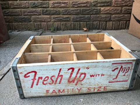 "Vintage ""Fresh Up""  7-UP Soda Red & White Wood Crate Great Decorator Piece - Kitchen Decor"