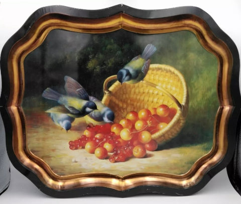 Vintage Basket of Cherries & Blue Birds Tole Tray Toleware Ian Logan London England