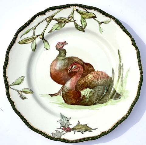 RARE Antique 1902 Royal Doulton Transferware Plate w/ Turkey Holly & Mistletoe