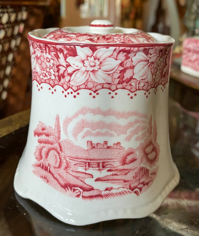 Red Transferware Tea Caddy / Jar / Sugar Bowl Octagonal shaped Cottage & windmill / floral border