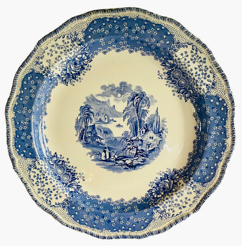 Blue English Victorian Pastoral Cottage Transferware Scenic Chop Plate Charger Round Serving Tray Royal Doulton Chatham