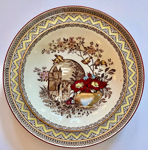 Wedgwood Aesthetic Brown Transferware Soup/Salad Bowl or Plate Birds on a Branch Vase of Flowers Castle