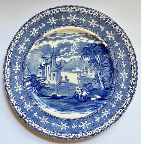Vintage Transferware Charger Serving Tray Grazing Cattle Sheep Castle Blue and White China