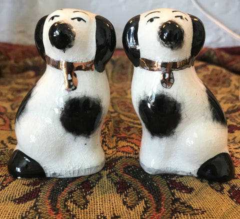 Tiny Pair Black & White English Staffordshire Spaniel Wally Dog Figurines  - English Country Decor