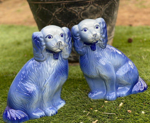 "Vintage Pair Large 12"" Hand Painted Blue King Charles English Staffordshire Dogs"