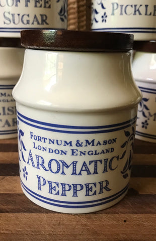 Fortnum & Mason Blue Transfer AROMATIC PEPPER Jar English Ironstone Advertising Canister