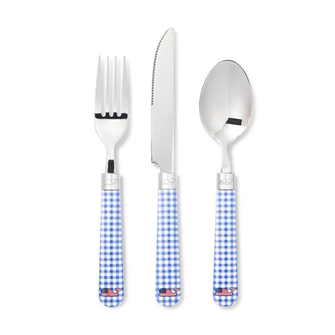Blue Gingham Flatware Service for 1 - 3  piece set - Blue & White Checked Flatware