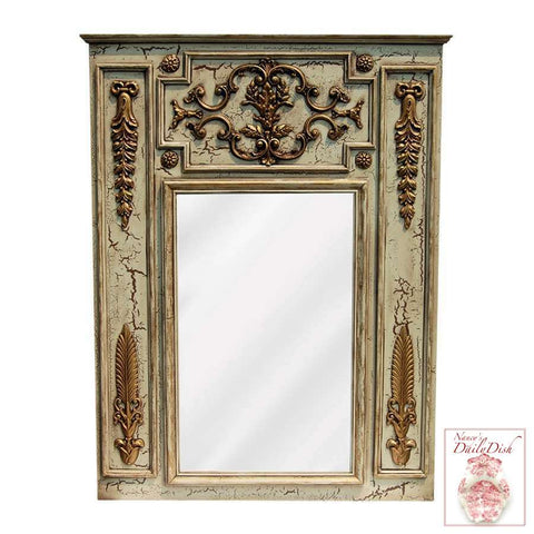 French Chateau Trumeau Mirror - Hand Finished Entryway or Wall Mirror with Walnut Finish