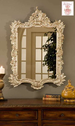 Ornate Baroque Rococo Entry Wall Mirror in Platinum Gold finish