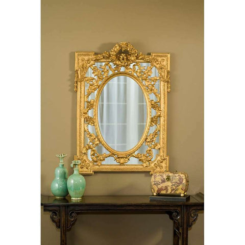 English Grandeur Hand Finished Entryway or Wall Mirror with Gold Finish