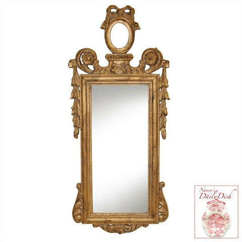 Narrow Bow Top French Victorian Gold Finished Mirror