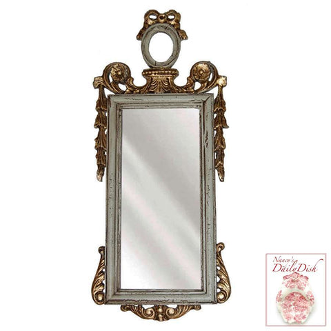 Ornate French Victorian Bow Topped Narrow Hall / Wall Mirror
