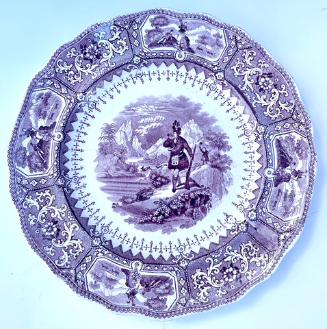 Purple Transferware Plate Scottish Stag Hunt Scene