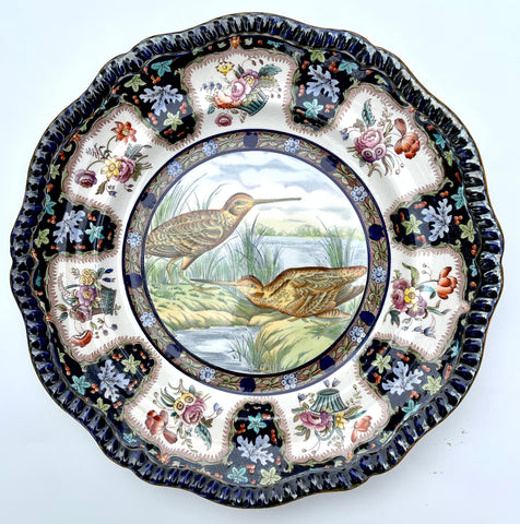 Copeland Spode Upland No.28 Snipe Game Bird Enameled Clobbered Antique Bi Color Transferware Plate