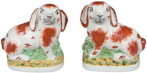 Pair Brown & White English Staffordshire Rabbit Figurines  - English Country Decor