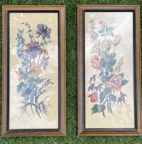 Pair of Vintage English Country Victorian Wood Framed Floral Bouquet Prints