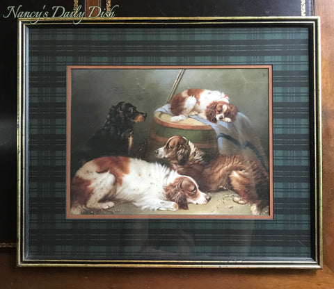 Vintage/Antique English Country Dog Print w/ Green Scottish Blackwatch Plaid Mat Wood Framed