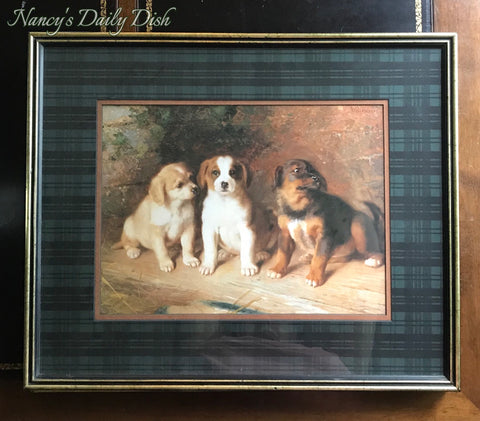 Vintage/Antique English Country Dog Puppies Print w/ Green Scottish Blackwatch Plaid Mat Wood Framed