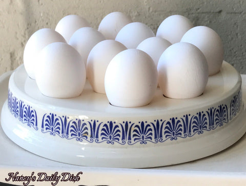 Vintage English Blue & White Transfer FRESH EGGS Slab / Dairy Egg Holder