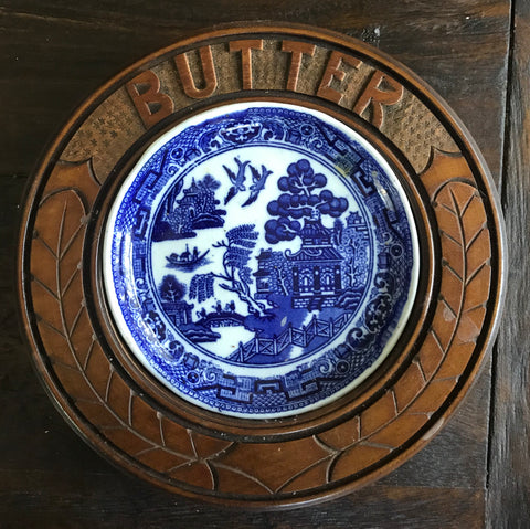 Antique English Transferware Carved Wood Butter Dish Tray Board - George Jones Blue Willow Transferware Plate Insert