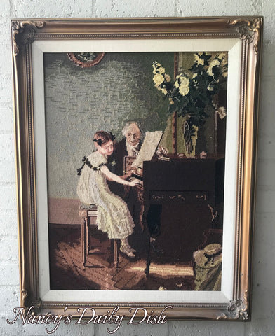 Large Ornate Frame Victorian Piano Lesson Wool Needlepoint Petit Point Music