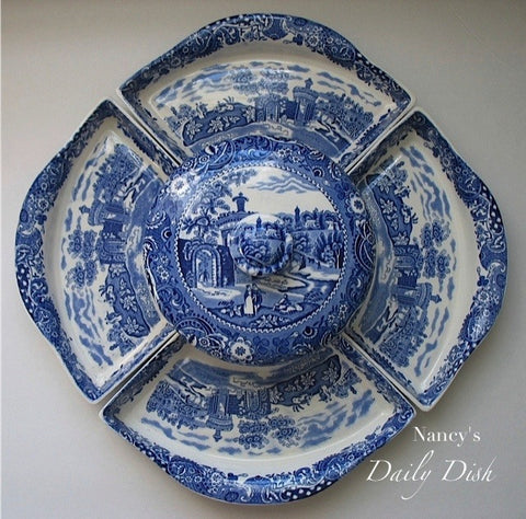 Blue and White English Transferware Lazy Susan 6 pc set with platters and casserole dish RARE Blue Transferware Serving Set / Dinner Party