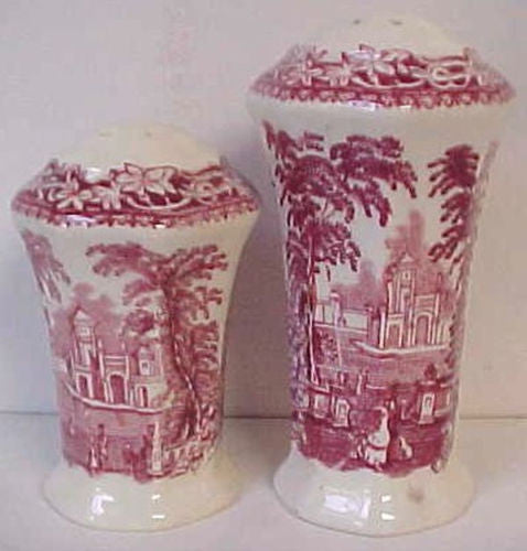 Masons Vista Red Transferware Scenic Salt Pepper Shakers English Iro