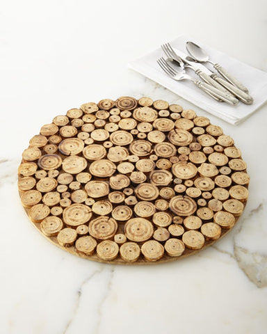 "14"" Large Rustic Wood Wooden Log Slice Round Platter or Charger Plate"
