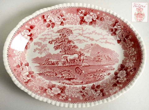 Vintage Farm Animals Red Transferware Platter Horses Sheep Cattle & Goat in Pasture