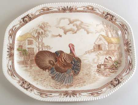 Brown Transferware Barnyard King Tom Turkey Platter Thanksgiving Dishes Antique Johnson Brothers