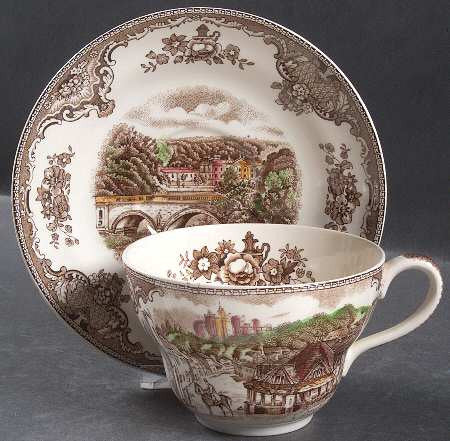 Vintage Brown English Transferware Jumbo Cup and Saucer 'Joke' Cup Flower Pot Old Britain Castles