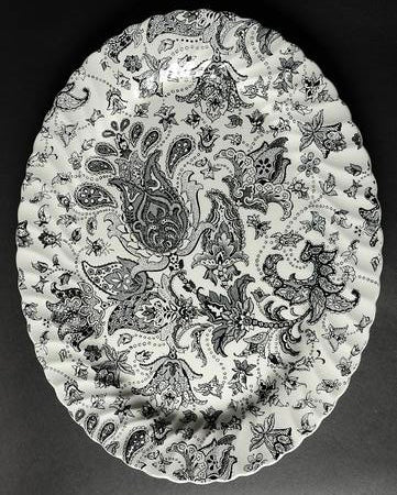 "Lg 14"" Vintage Black and White English Transferware Platter Scottish Paisley Toile Floral"
