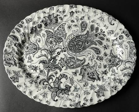 Vintage Black and White English Transferware Platter Scottish Paisley Toile Floral