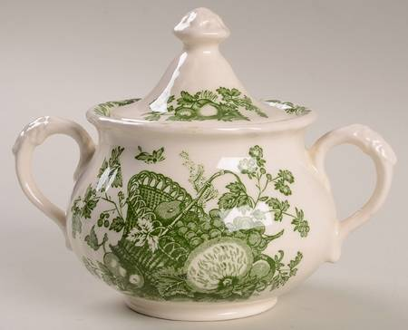 Green English Transferware Lidded Sugar Bowl / Tea Caddy Masons Fruit Basket