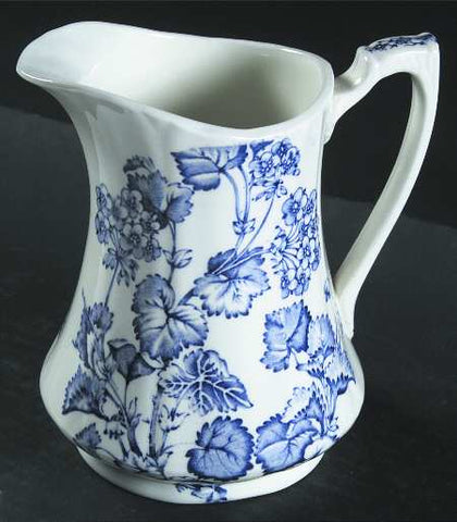 Vintage English Blue White Transferware Pitcher Flowering Vine