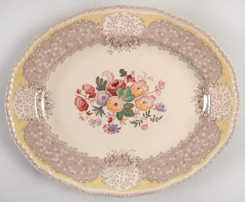 Vintage Two Color Butter Yellow Transferware Oval Serving Bowl Royal Doulton Tulips Roses Flowers