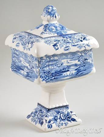 RARE Wedding Pedestal Bowl & Lid Clarice Cliff signed Vintage Blue Transferware Tonquin