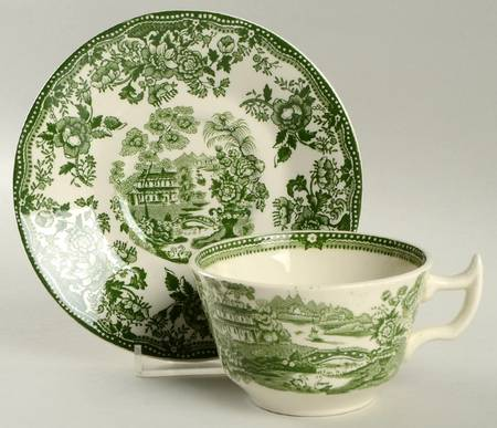Clarice Cliff Tonquin Green Transferware Teacup & Saucer Staffordshire Vintage Roses Bridge