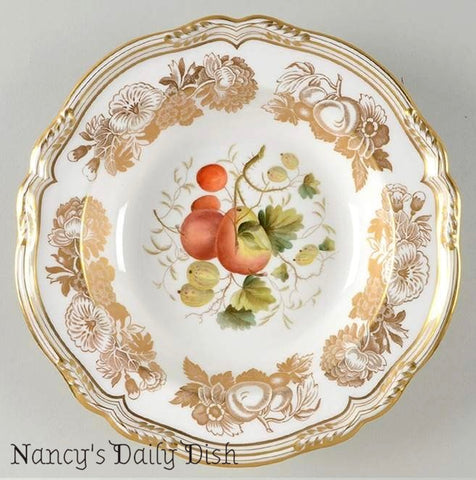 Spode 22k Gold Large Rimmed Soup Bowl Hand Painted Fruits Golden Valley 2