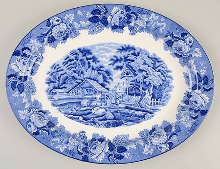 Vintage Blue Transferware Platter Girl Feeding Farm Animals Pigs Chickens Cows England