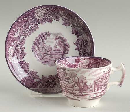 Purple Transferware Demi Demitasse Cup and Saucer English Scenery Wood & Sons