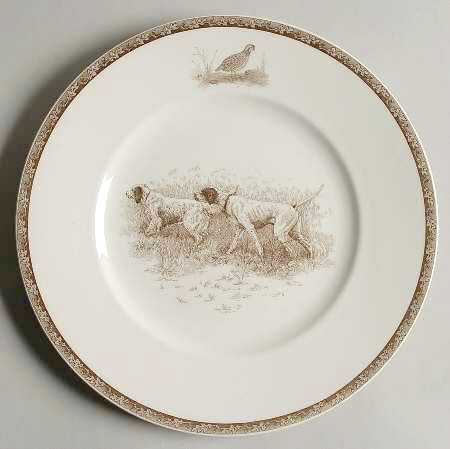 Vintage Brown English Transferware Plate Gorgeous Wedgwood American Sporting Dog
